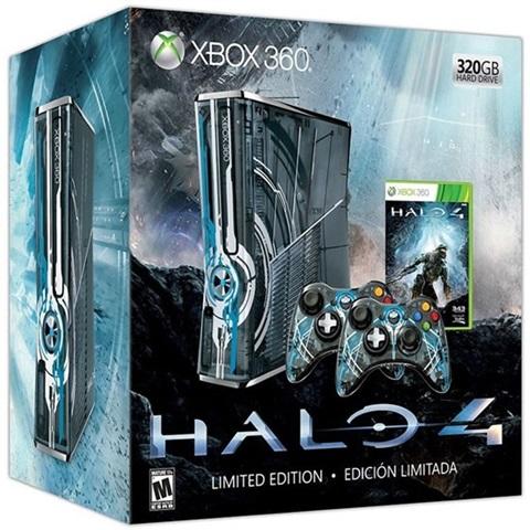 Xbox 360S (Slim) Console, 320GB, Halo 4 Ed  + 2Pad (No Game